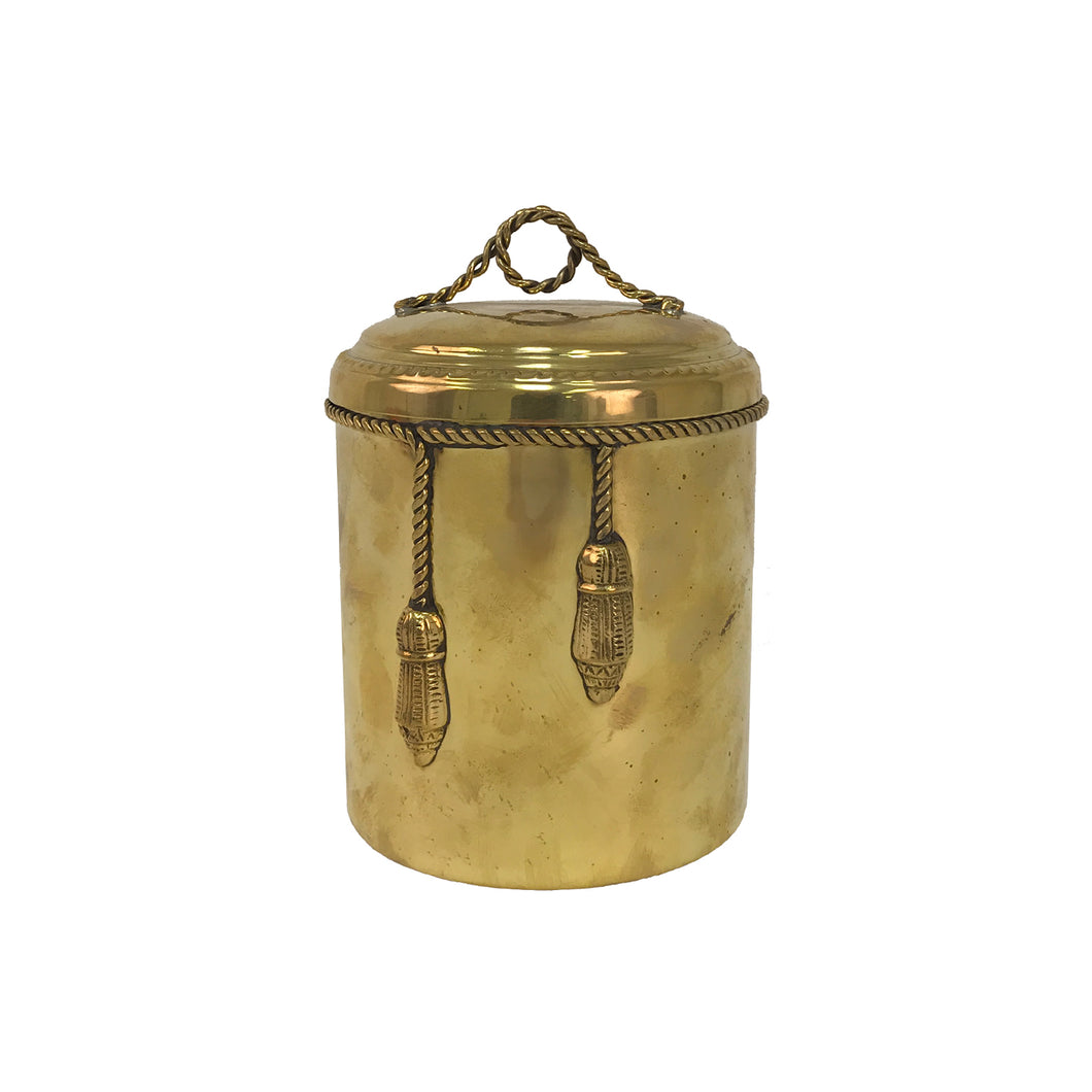 BRASS ICE BUCKET WITH ROPE AND TASSEL DETAIL - Flair Home Collection