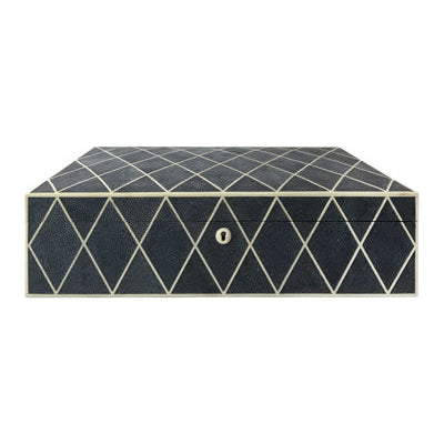 LARGE NAVY BLUE DIAMOND PATTERN SHAGREEN BOX - Flair Home Collection