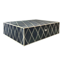 Load image into Gallery viewer, LARGE NAVY BLUE DIAMOND PATTERN SHAGREEN BOX - Flair Home Collection