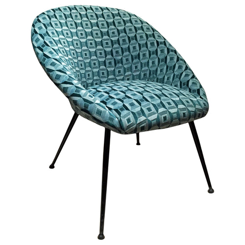 MID-CENTURY CURVED BACK LOUNGE CHAIR IN GREEN PATTERNED SILK VELVET - Flair Home Collection