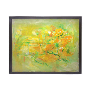ABSTRACT PAINTING IN YELLOW, GREEN AND ORANGE - Flair Home Collection