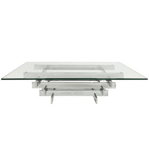 "DAVID HICKS STACKED CHROME ""TAVOLO SCULTURA"" COFFEE TABLE - Flair Home Collection"