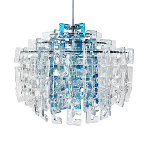 VINTAGE FOUR-TIER INTERLOCKING BLUE AND CLEAR MURANO C LINK CHANDELIER BY MAZZEGA - Flair Home Collection