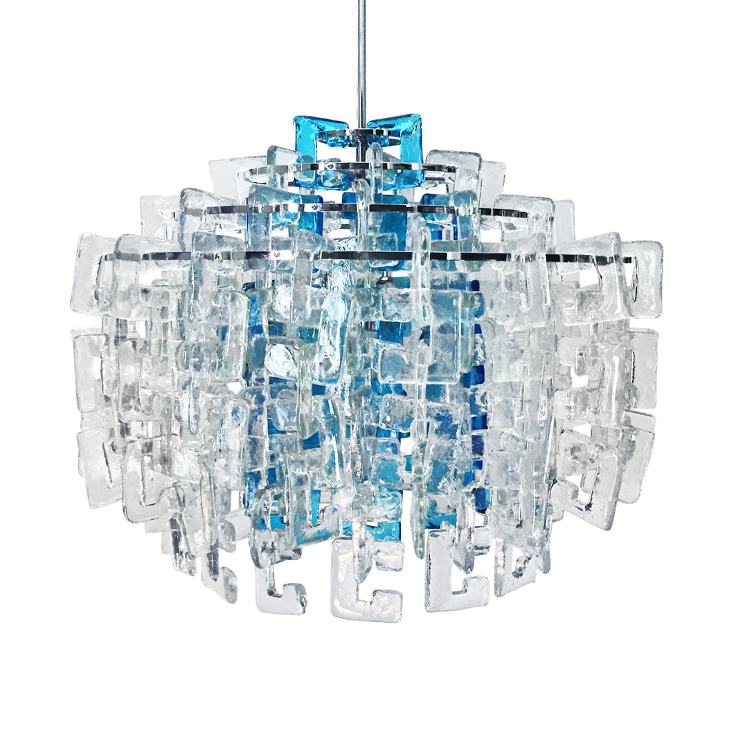 FOUR TIER INTERLOCKING BLUE AND CLEAR MURANO GLASS LINK CHANDELIER BY MAZZEGA - Flair Home Collection