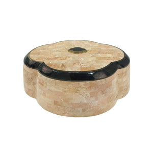 MAITLAND SMITH SCALLOPED STONE BOX WITH HINGED LID - Flair Home Collection