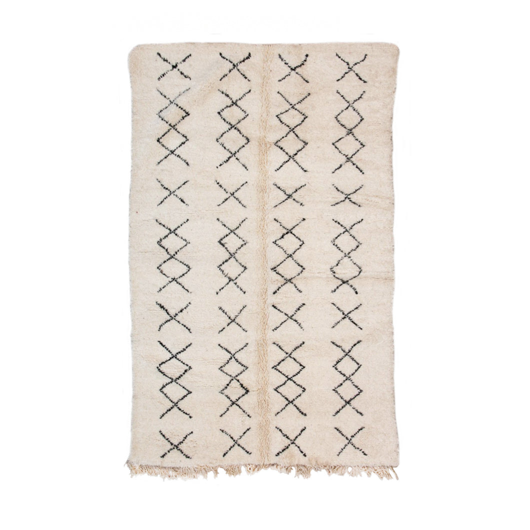 BENI OURAIN MOROCCAN RUG WITH FOUR COLUMN X PATTERN - Flair Home Collection