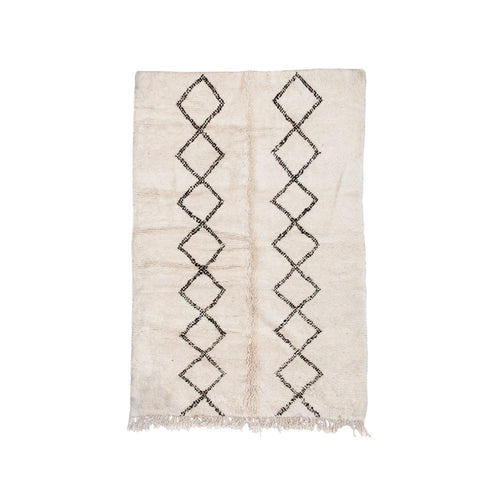 BENI OURAIN MOROCCAN RUG WITH TWO COLUMN DIAMOND PATTERN - Flair Home Collection