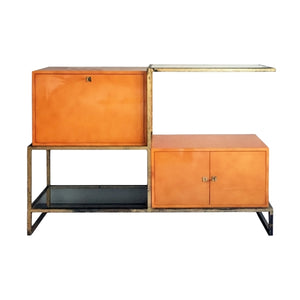 EXCEPTIONAL LACQUER AND GILT IRON SECRETARY CABINET BY ROGER AND ROBERT THIBIER - Flair Home Collection