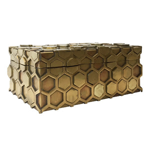 BRASS HONEYCOMB BOX - Flair Home Collection