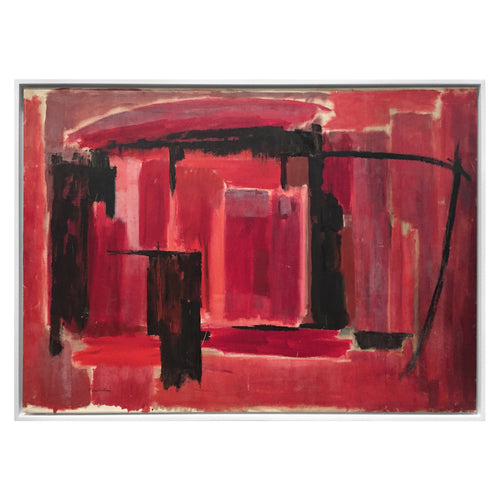 LARGE ABSTRACT PAINTING IN BLACK AND REDS BY PHILLIP CALLAHAN - Flair Home Collection