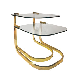 VINTAGE SET OF TWO CURVED BRASS AND GLASS NESTING SIDE TABLES - Flair Home Collection
