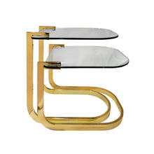 Load image into Gallery viewer, VINTAGE SET OF TWO CURVED BRASS AND GLASS NESTING SIDE TABLES - Flair Home Collection
