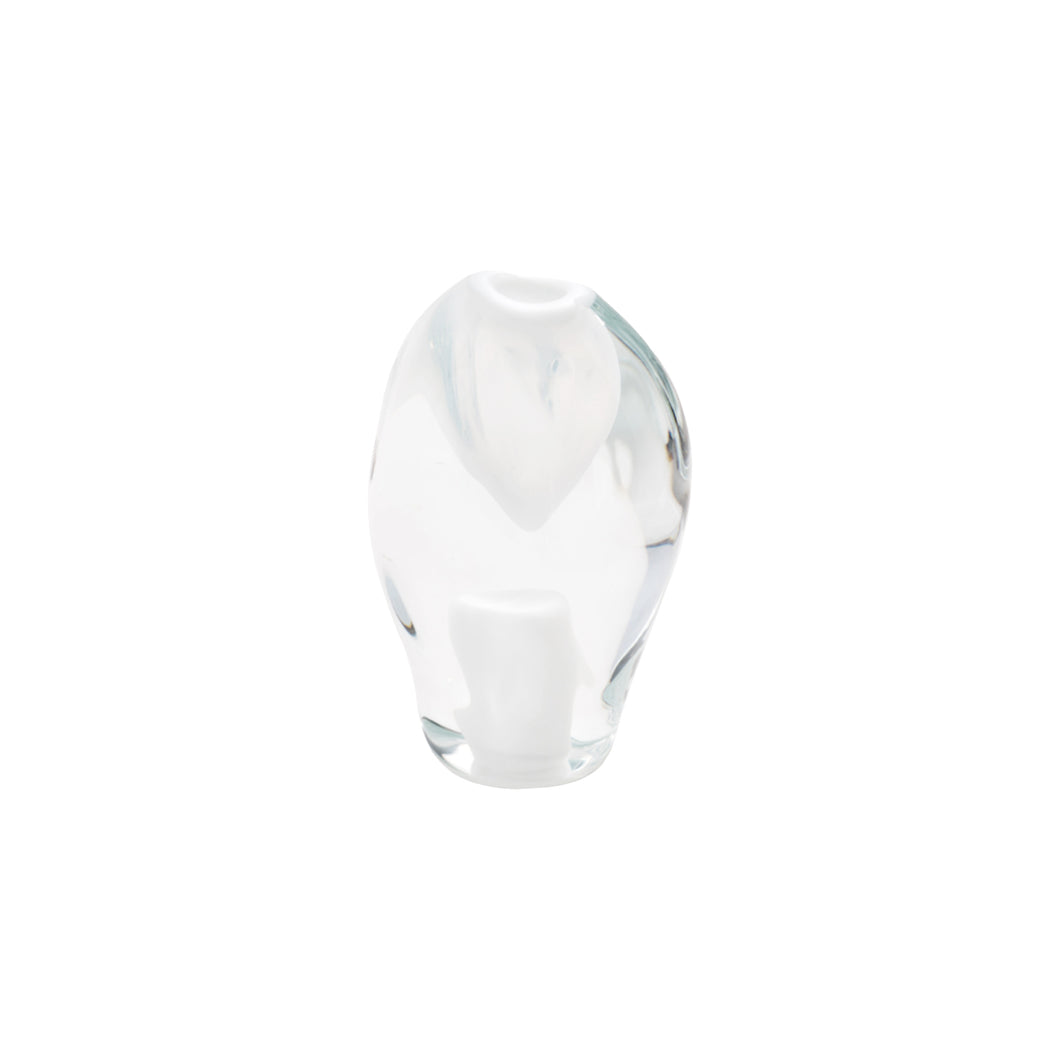 SMALL GLASS LAVA OBJECT IN WHITE - Flair Home Collection