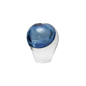 SMALL HANDBLOWN GLASS SEED VESSEL IN STEEL BLUE - Flair Home Collection