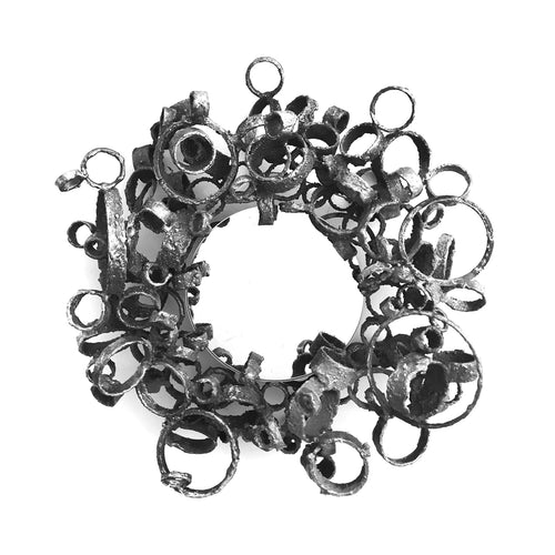 SMALL TORCH CUT WELDED STEEL RING MIRROR BY JAMES BEARDEN - Flair Home Collection