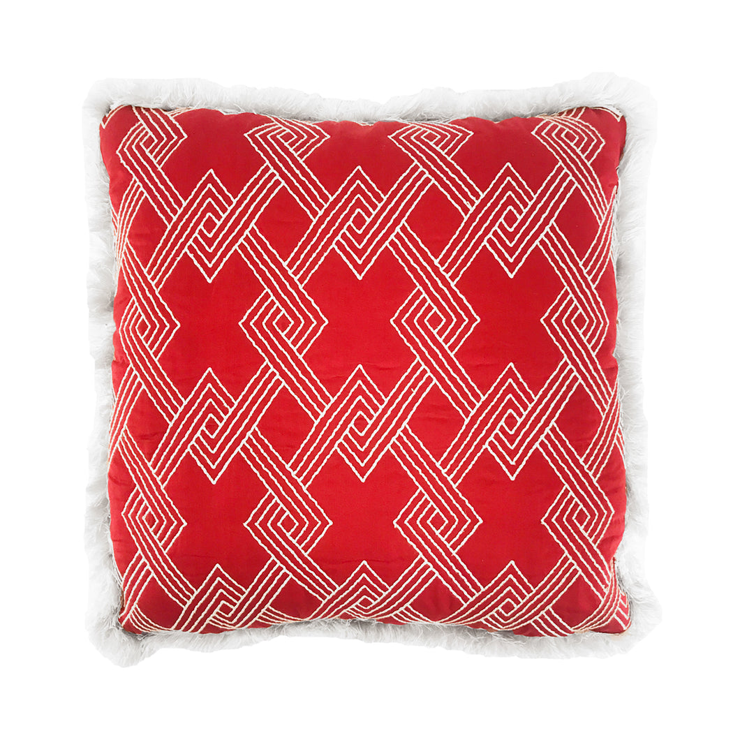FLAIR HOME COLLECTION EMBROIDERED GEOMETRIC PILLOW - Flair Home Collection