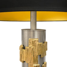 Load image into Gallery viewer, MIDCENTURY BRUSHED STEEL LAUREL TABLE LAMP WITH BRASS BRUTALIST MOTIF - Flair Home Collection