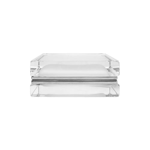 HANDMADE LOW MURANO GLASS BOX WITH CRYSTAL SATIN INTERIOR - Flair Home Collection