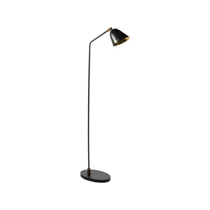 BLACK AND BRASS FLOOR LAMP WITH DIRECTIONAL HEAD - Flair Home Collection