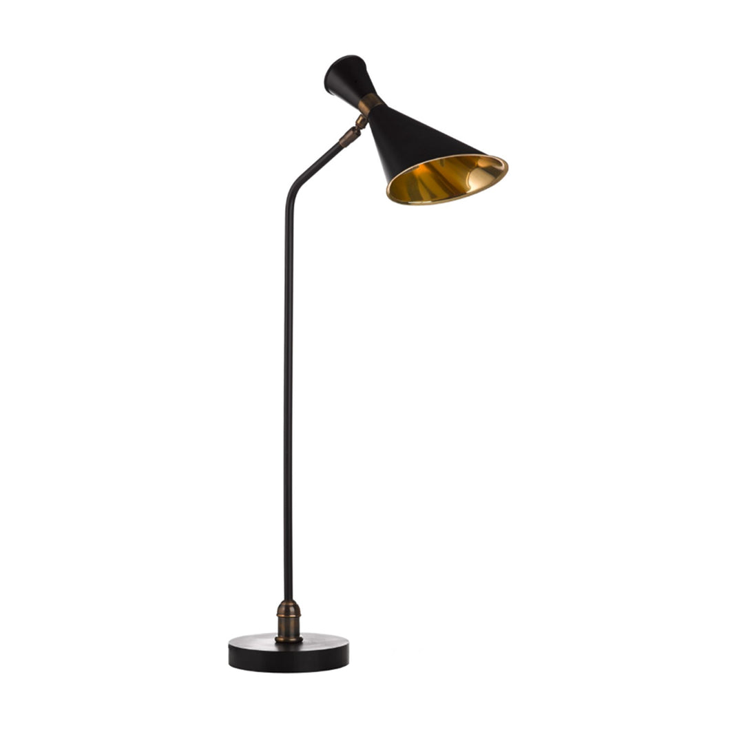 BLACK AND BRASS TABLE LAMP WITH DIRECTIONAL HEAD - Flair Home Collection