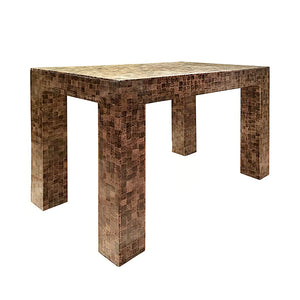 RECTANGULAR LACQUERED FAUX SNAKE SKIN CHECKERBOARD SIDE TABLE - Flair Home Collection