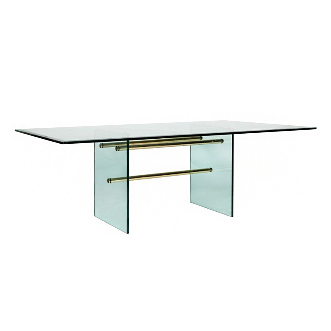RECTANGULAR BRASS AND GLASS DINING TABLE - Flair Home Collection