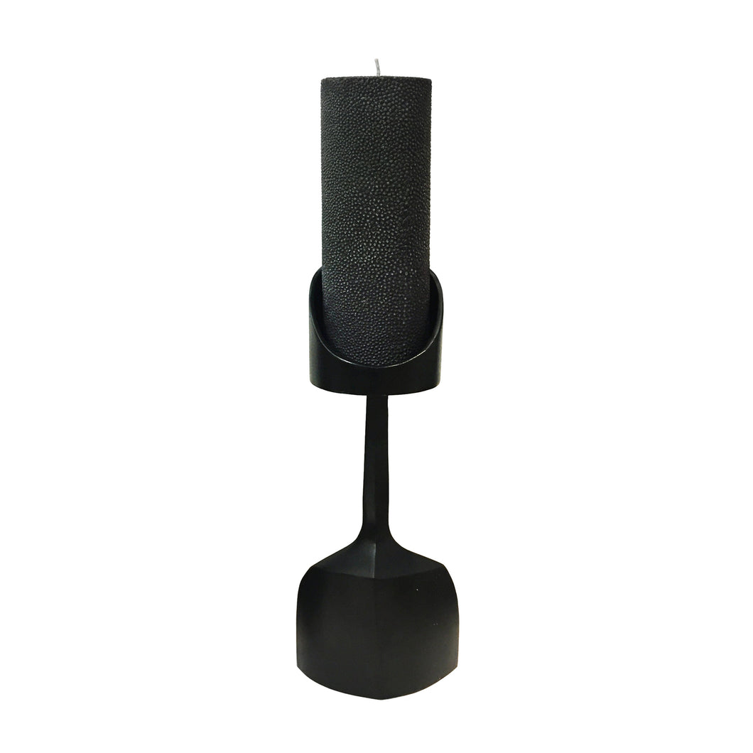 PEDESTAL CANDLEHOLDER WITH SHAGREEN TEXTURED CANDLE - Flair Home Collection