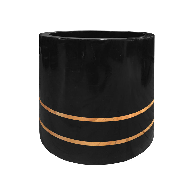 MEDIUM ROUND BLACK STONE PLANTER - Flair Home Collection
