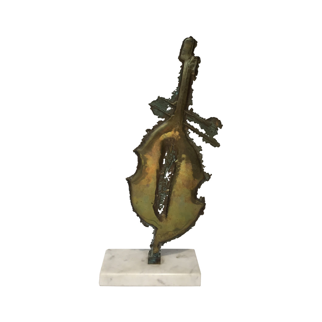 ABSTRACT BRASS SCULPTURE ON WHITE MARBLE BASE - Flair Home Collection