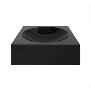 LARGE BLACK GLASS SQUARE CONVEX BOWL - Flair Home Collection