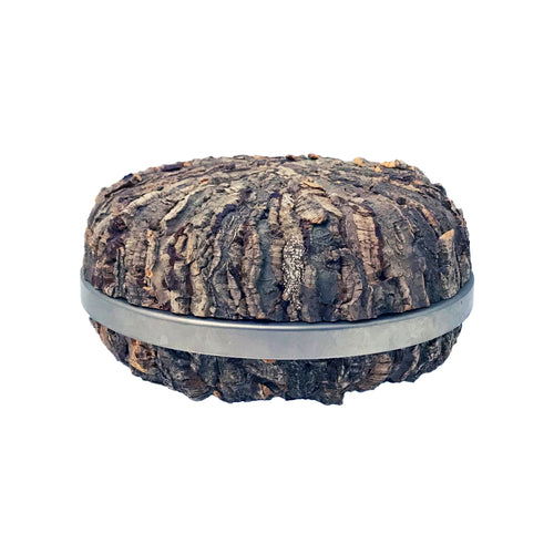 GABRIELLA CRESPI ROUND BARK AND STAINLESS STEEL BOX - Flair Home Collection