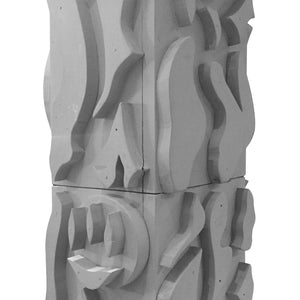 MATTE GREY WOOD TOTEM SCULPTURE - Flair Home Collection