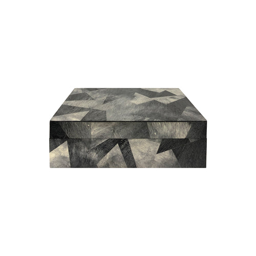 SMALL RECTANGULAR BLACK AND GREY HORN BOX - Flair Home Collection