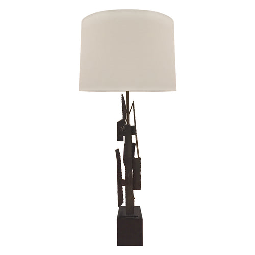 BRUTALIST WELDED METAL TABLE LAMP BY HARRY BALMER FOR LAUREL LAMP CO. - Flair Home Collection