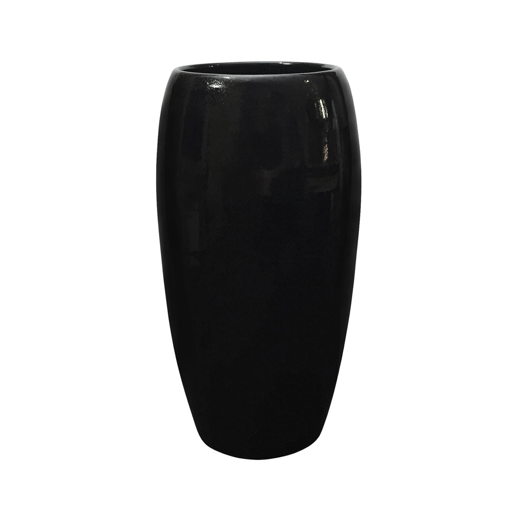 GLOSS BLACK WIDE MOUTH CERAMIC COLUMN VASE - Flair Home Collection