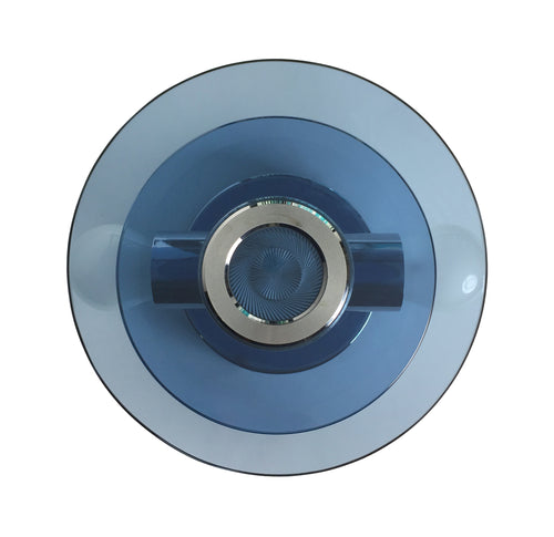 ITALIAN ROUND TWO TIERED NAVY BLUE GLASS AND CHROME WALL SCONCE - Flair Home Collection