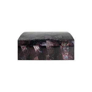 RECTANGULAR TRUNK BOX IN VIOLET OYSTER SHELL WITH HINGED LID - Flair Home Collection