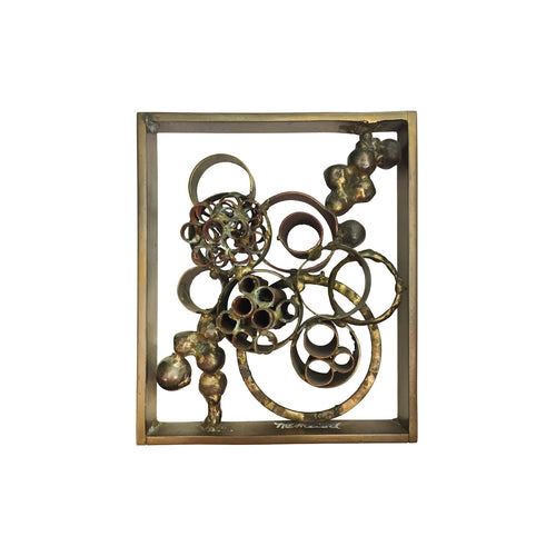 SMALL RECTANGULAR BRUTALIST BRASS, BRONZE AND COPPER WELDED SCULPTURE - Flair Home Collection