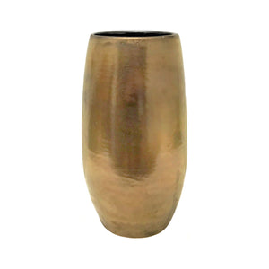 WIDE MOUTH CERAMIC COLUMN VASE WITH GOLD GLAZE - Flair Home Collection
