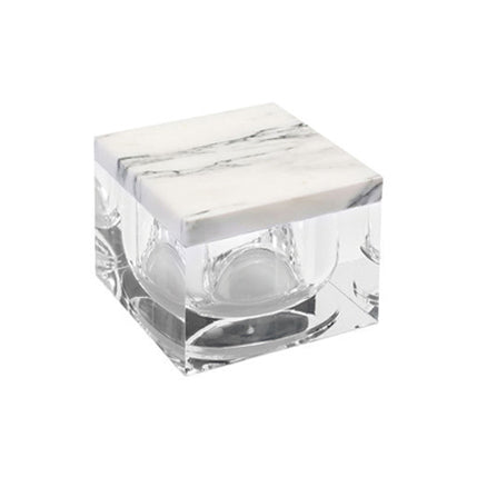 SMALL ARABESCATO WHITE MARBLE AND LUCITE BOX - Flair Home Collection