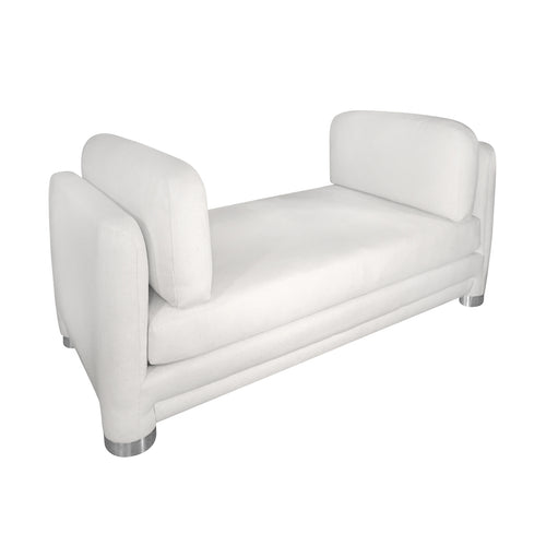 VINTAGE WHITE DAYBED WITH ROUND CHROME LEGS - Flair Home Collection