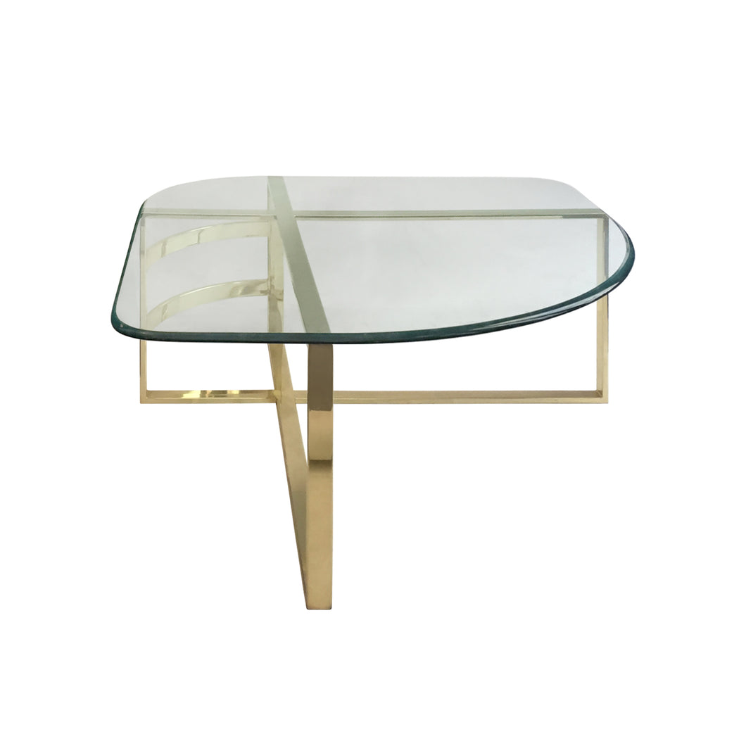 VINTAGE BRASS COFFEE TABLE WITH ROUNDED TRIANGULAR GLASS TOP - Flair Home Collection