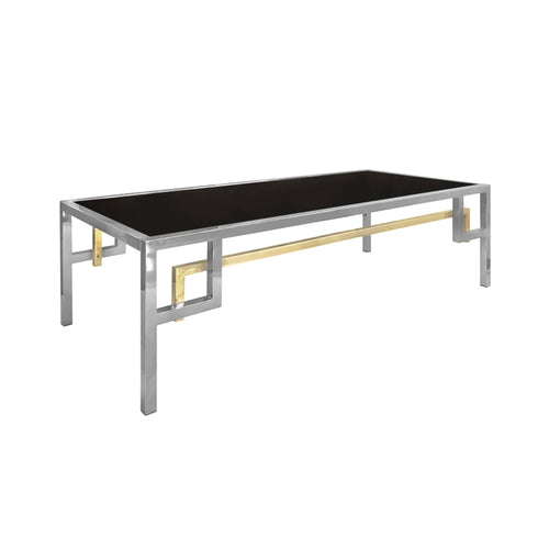 RECTANGULAR NICKEL COFFEE TABLE WITH INTERSECTING BRASS CORNER DETAIL - Flair Home Collection