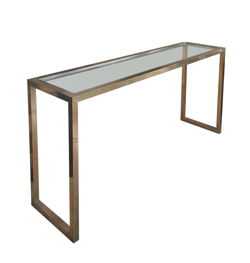 JEAN CHARLES BRASS AND CHROME CONSOLE - Flair Home Collection