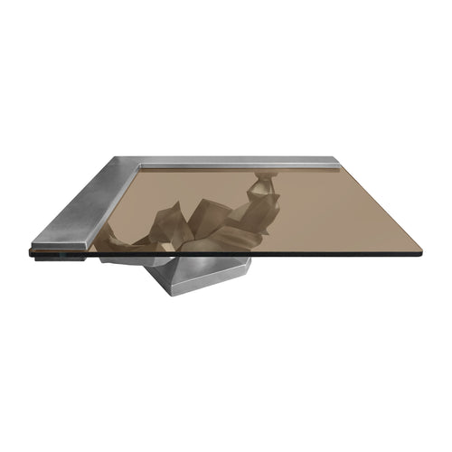 SCULPTURAL BRUSHED STAINLESS STEEL COFFEE TABLE - Flair Home Collection