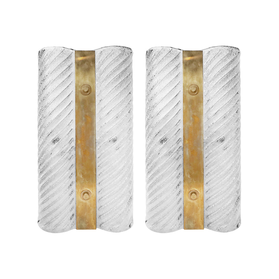 PAIR OF LARGE MIDCENTURY RIPPLED MURANO GLASS AND BRASS WALL SCONCES - Flair Home Collection