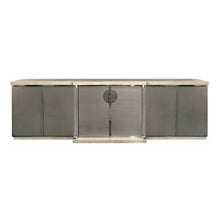 Load image into Gallery viewer, VINTAGE BRUSHED CHROME AND TRAVERTINE SIDEBOARD WITH LUCITE COLUMNS - Flair Home Collection