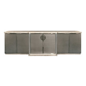 VINTAGE BRUSHED CHROME AND TRAVERTINE SIDEBOARD WITH LUCITE COLUMNS - Flair Home Collection