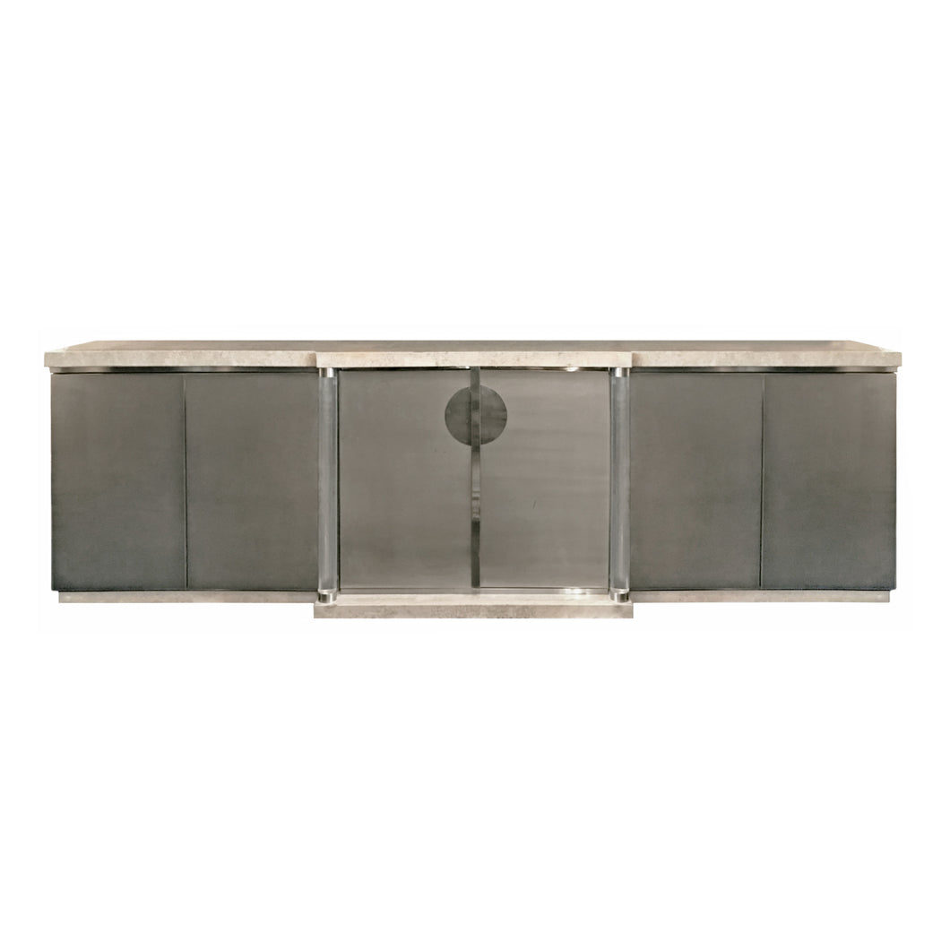 BRUSHED CHROME AND TRAVERTINE SIDEBOARD WITH LUCITE COLUMNS - Flair Home Collection