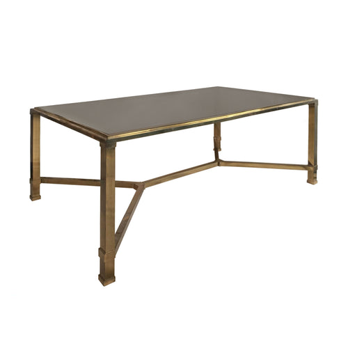 RECTANGULAR BRASS AND SMOKED GLASS COFFEE TABLE WITH BRASS STRETCHER - Flair Home Collection